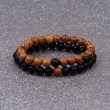 Casais pulseiras para mulheres masculino clássico natural de madeira & pedra contas amante distância pulseira jóias amizade presente aniversário