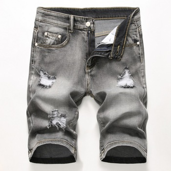 Men's Denim Shorts Torn Hot Summer Breeches Hole Distressed Bermuda Male Stretch Knee Length Vintage Short Jeans Shorts Men Men's Bottoms