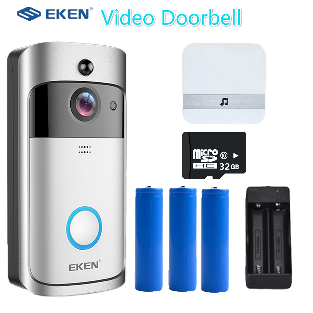 Original EKEN V5 Smart Wireless WiFi Security Door Bell Eye Visual Recording Night Vision Video Intercom Phone Call Doorbell