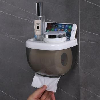 Ścienny łazienka samoprzylepny podajnik ręczników papierowych pudełko na chusteczki do ręczników papierowych telefon do przechowywania tkanek szuflada akcesoria do łazienki tanie i dobre opinie CN (pochodzenie) Polypropylene