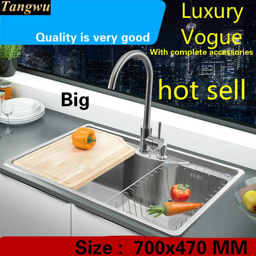 Free Shipping Standard Luxury Big Kitchen Single Trough Sink Fashion Durable Food-grade 304 Stainless Steel Hot Sell 700x470 MM