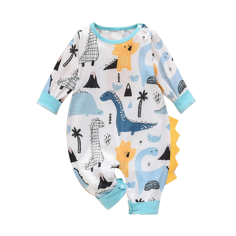 Baby Onesie Autumn And Winter Men And Women Baby Dinosaur Printed Even Angle Onesie Newborns Clothes Autumn And Winter Crawling