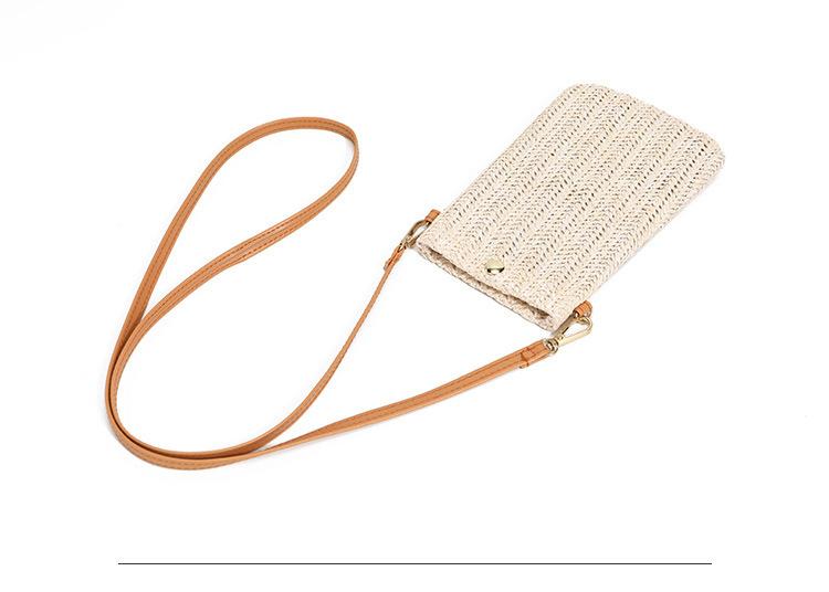 Mini Size Straw Travel Bag with Leather Strap for Summer 2021