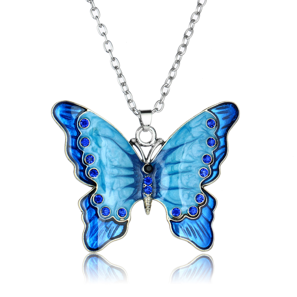 12PC Blue Crystal Butterfly Pendant Chain Necklace Womens Jewellery Love Gifts Butterfly Charm Necklaces