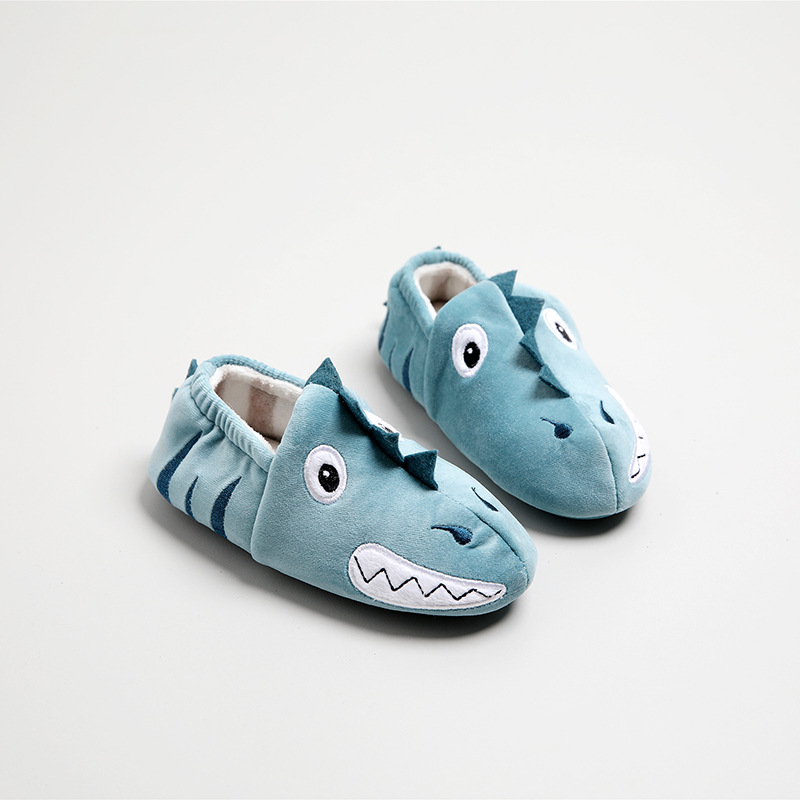 Suihyung Kids Home Slippers Winter Warm Indoor Floor Shoes Funny Cartoon Monster Boys Slip On Flats Children House Cotton Shoes