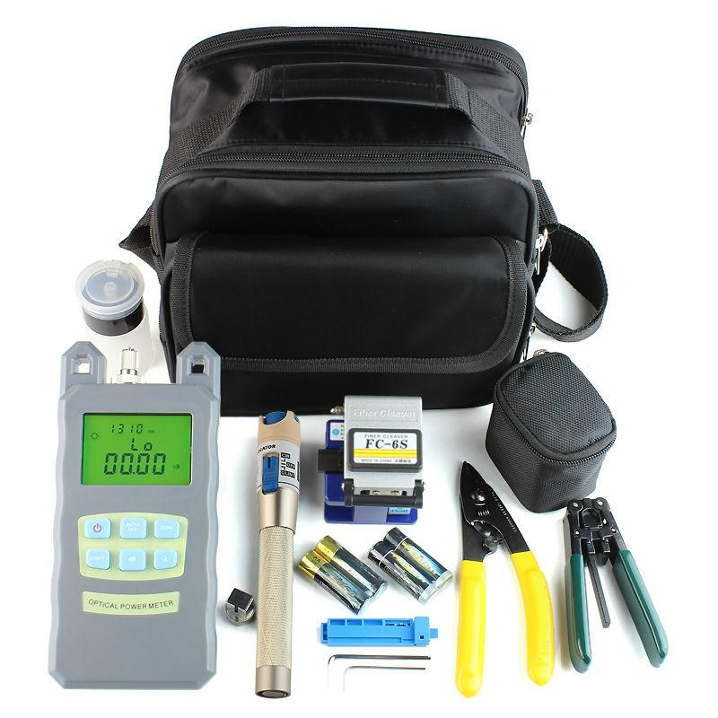 9 In 1 Fiber Optic FTTH Tool Kit with FC-6S Fiber Cleaver and Optical Power Meter 5km Visual Fault Locator Wire stripper