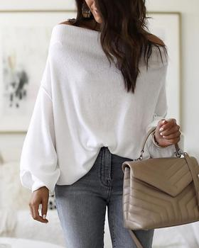 2020 Women Fashion Casual Brief Slash Neck Long Sleeve Autumn Solid Blouse Tops Off Shoulder Lantern Sleeve Ribbed Blouse european style floral slash neck off shoulder top blouse cold shoulder tops bell sleeve mori chiffon blouse feminine shirts