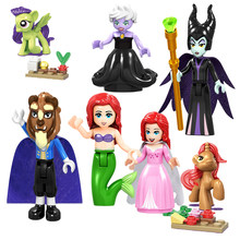 Legoing Princess Friends Beast Figurine Toys For Children Elsa Figure Cinderella Anna Mulan Figures Prince Girls Alana Girl Toys(China)