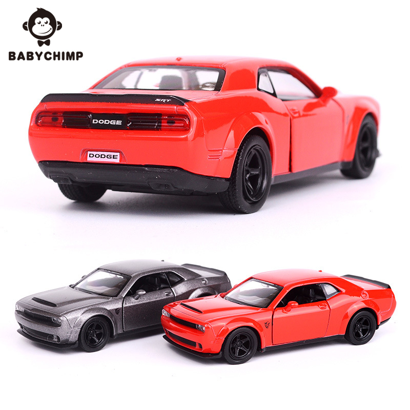 BABYCHIMP 1:36 Dodge Challenger SRT Demon Sports Car Toy Simulation Metal Alloy Diecast Car Model With Pull Back Gift Collection