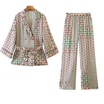 Women's suit new style color matching geometric pattern kimono with jacket + high waist elastic casual trousers two piece set animal pattern elastic waist trousers