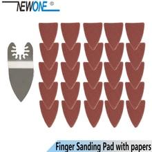 NEWONE 25pcs Quick Release Oscillating Tool Sanding paper+Finger Sanding Pad fits for Multifunction Tool Fein Dewalt Rockwell