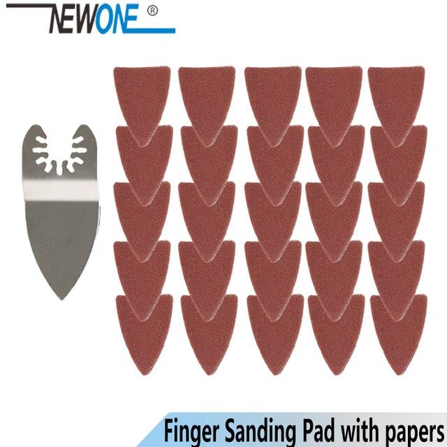 Newone 25 pçs ferramenta de oscilação liberação rápida lixa papel + dedo almofada lixa se encaixa para ferramenta multifunções fein dewalt rockwell