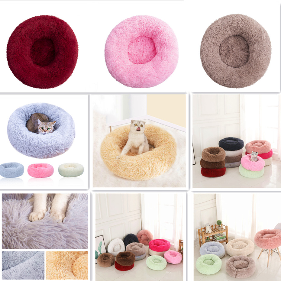 Super Soft Dog Bed Round Washable Long Plush Dog Kennel Cat House Velvet Mats Sofa For Dog Chihuahua Dog Basket Pet Bed