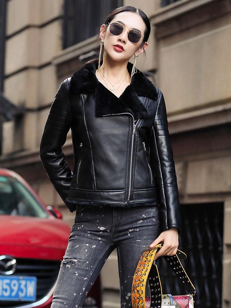 Sheepskin Real 100% Coat Female Natural Sheep Shearling Fur Coats 2020 Winter Jacket Women Genuine Leather Jacket MY3742 S