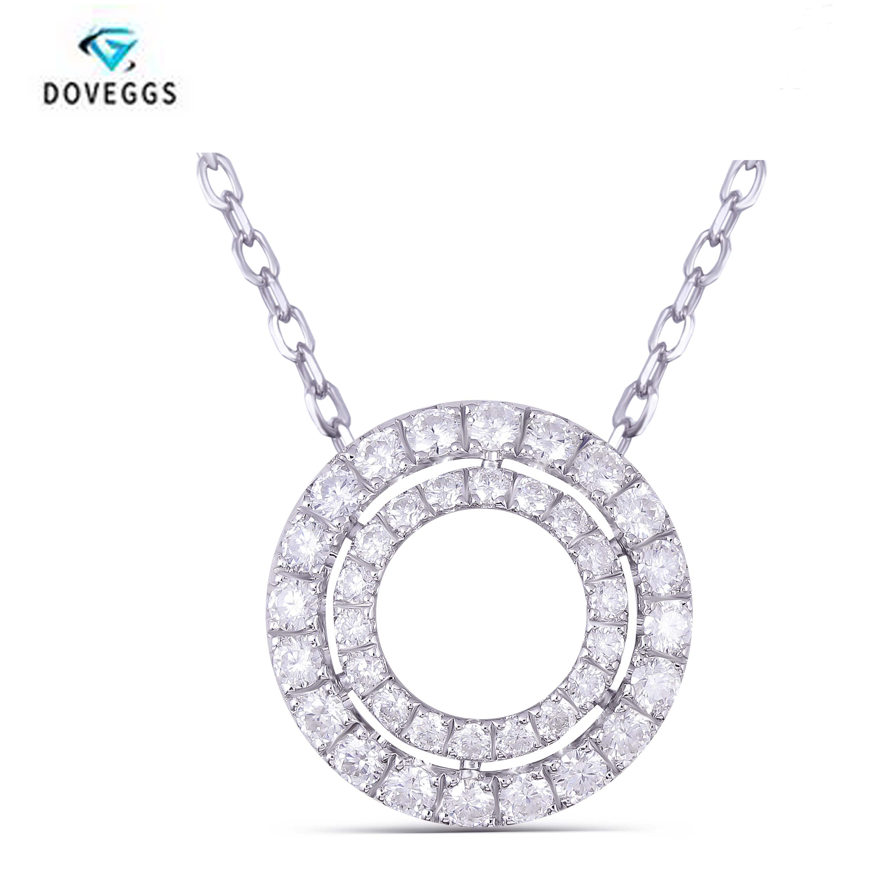 DovEggs Sterling solid 925 Silver EF color Moissanite Diamond Pendant Necklace for Women Engagement Gift