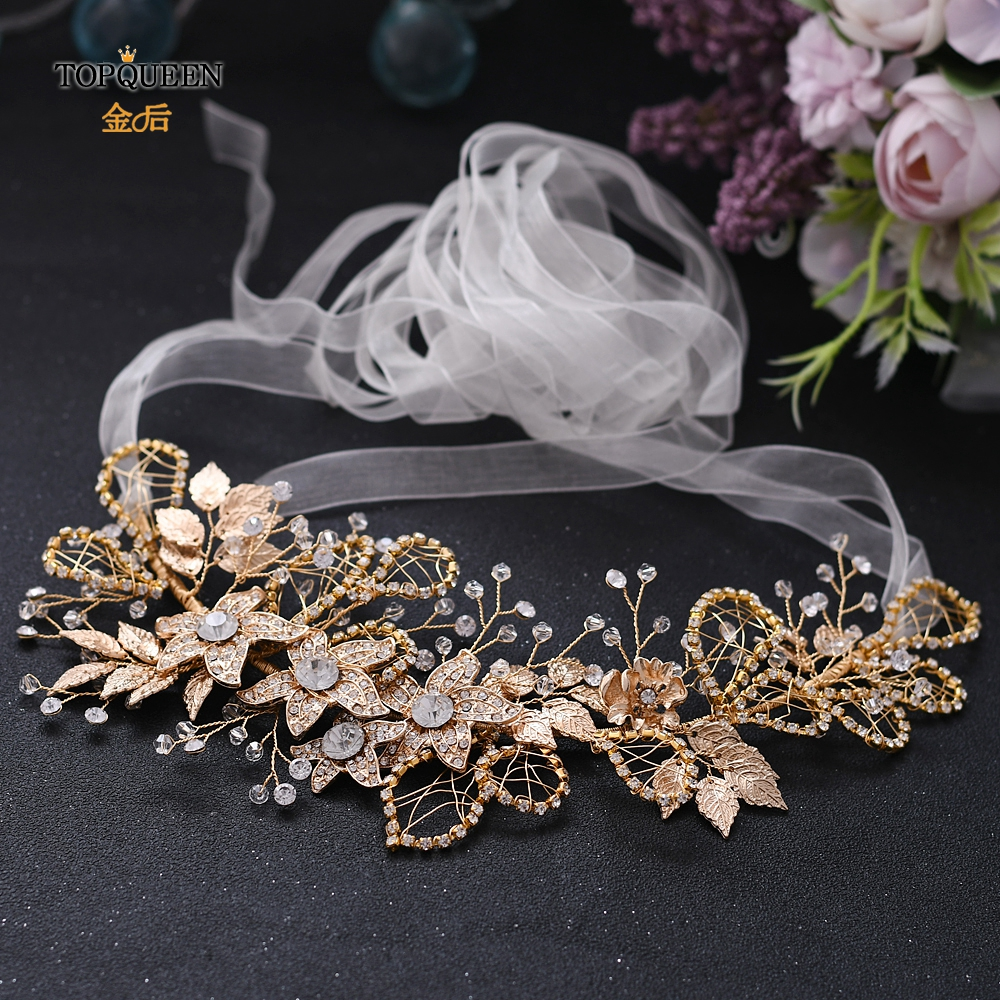 TOPQUEEN Golden Rhinestone Sash Belts For Dresses Decorative Belt Crystal Sash Belt Alloy Flower Embellished Waist Belt SH282-G