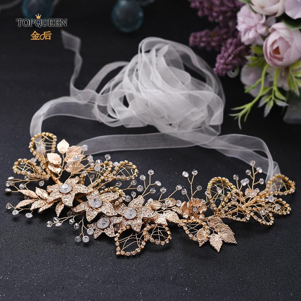 TOPQUEEN Golden Rhinestone Sash Belts For Dresses Decorative Belt Crystal Sash Belt Alloy Flower Embellished Waist Belt SH282-G