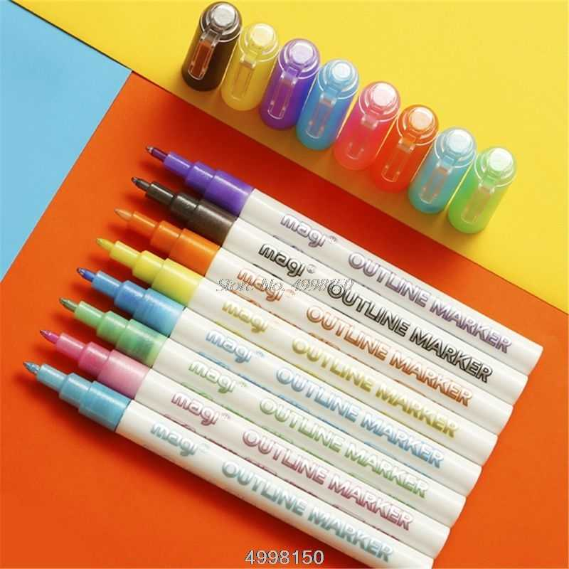 Kid Journal Greeting Cards Painting Outline Markers Pens for Art Self Journal Drawing Double Line Outline Pens 12 Colors Self Outline Metallic Markers Double Line Pen Craft Projects Posters