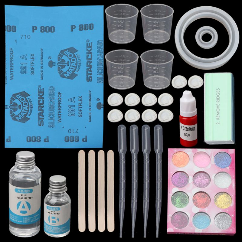 DIY Epoxy Resin Ring Bracelet Molds Jewelry Making Tool Kit With Resin AB Glue