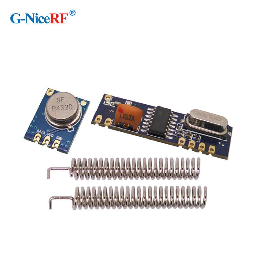 433MHz ASK RF Module Kit (RF Transmitter STX882+ RF Receiver SRX882)+2 Pcs Nickel-plated Spring Antenna Free Shipping