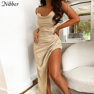 Nibber elegant Backless skinny club dresses chic Asymmetry Pleated lace up streetwear sleeveless woman leisure Vacation dress