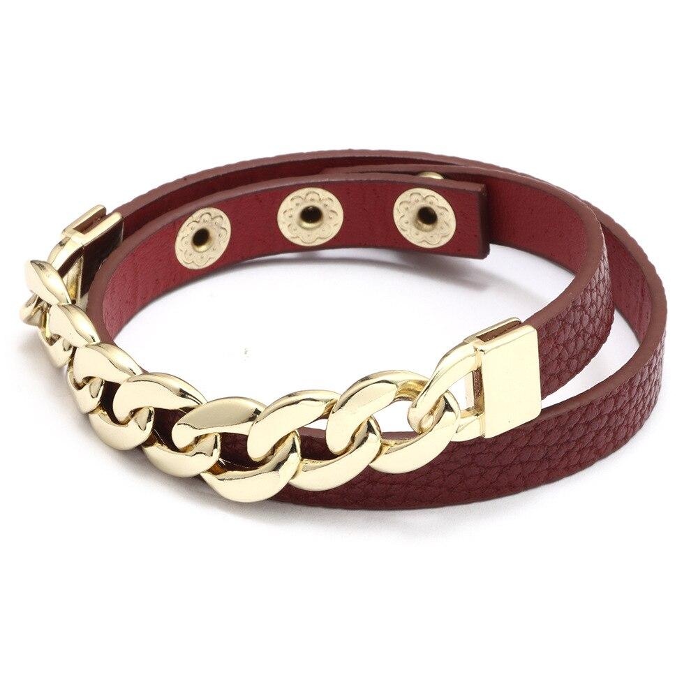 Kirykle breloque chaîne en or bracelet pour femmes mode Plaid bracelet en cuir Six couleurs réglable multi-couche bracelet fille cadeau 3