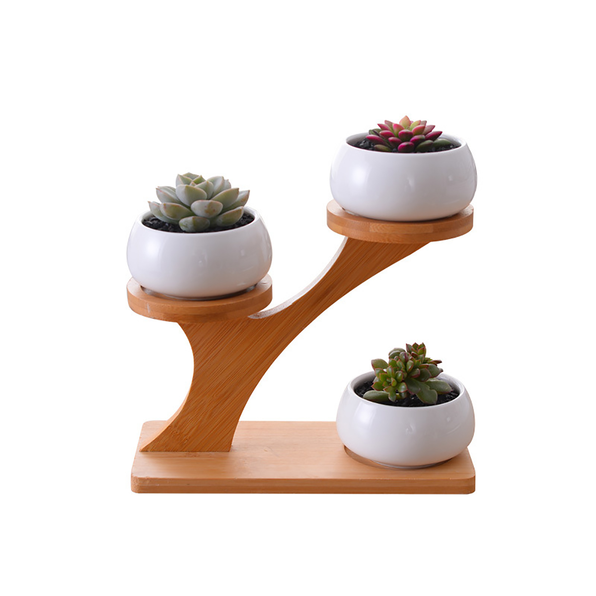 1 Set Ceramic Decorative Garden Flower Pots Modern White Simple Succulent Plant Holder With 3-level Bamboo Shelf