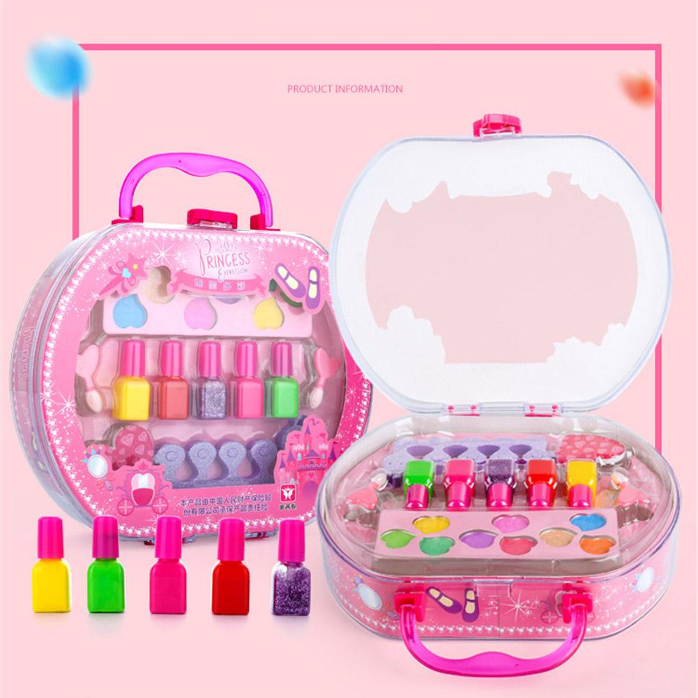 Children's Cosmetics <font><b>Toy</b></font> Kids Play <font><b>House</b></font> <font><b>Toy</b></font> Makeup Tote Bag Storage Princess Stage Show Little <font><b>Girl</b></font> Nail Polish Gift Box image