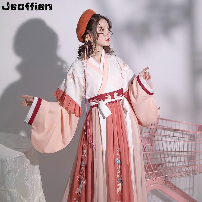 Chinese Traditional Plus Size Hanfu Costume Women Folk Dance Clothing Oriental Han Dyansty Cosplay Dress Fairy Stage Dancewear