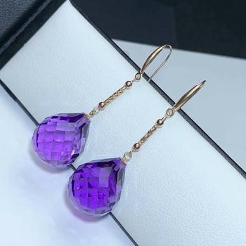 shilovem 18K yellow Gold Piezoelectric Amethyst stud earrings wedding fine Jewelry trendy  gift new 13*16mm  plantmyme1316832z 5