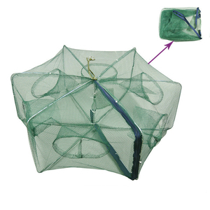 Image 1 - Automático dobrado rede de pesca 6 16 furos armadilha para furos de peixe fundido dobrável reforçado rede de pesca de lagostins