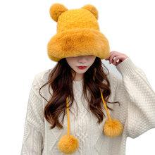 Chapéus de inverno feminino gorros de esqui de lã de lã de lã de lã de lã de pele sólida