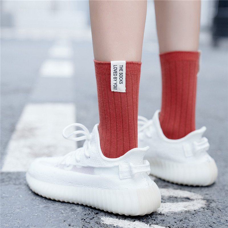 Retro Striped Crew Cotton Women Socks 2019 Autumn Winter New Letters Sports Casual Breathable Fashion Style Color Socks Women