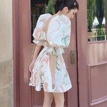 2021 Summer Woman Backless Print Dresses
