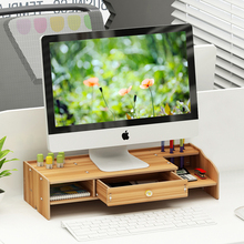 2 Tiers Wood Monitor Riser Stand with Storage Organizer With Drawer PC Stand Shelf for Desk Monitor Laptop Printer DIY Assembly
