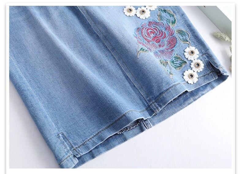 KSTUN FERZIGE One-step Skirts Women High Waistd Light Blue Elastic Waist Denim Skirts Pencils  Jeans Skirt Slim Fit Embroidered Beads 21