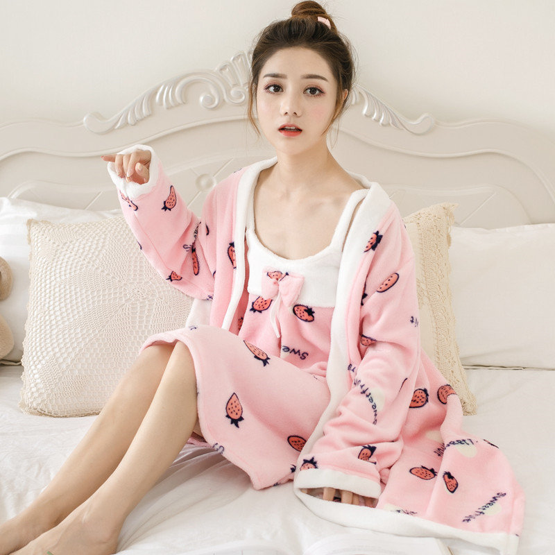2PCS Coral Fleece Robe Set Kimono Bath Gown Women Winter Thicken Bathrobe Nightwear Soft Bow Sleepwear Home Clothing Negligee