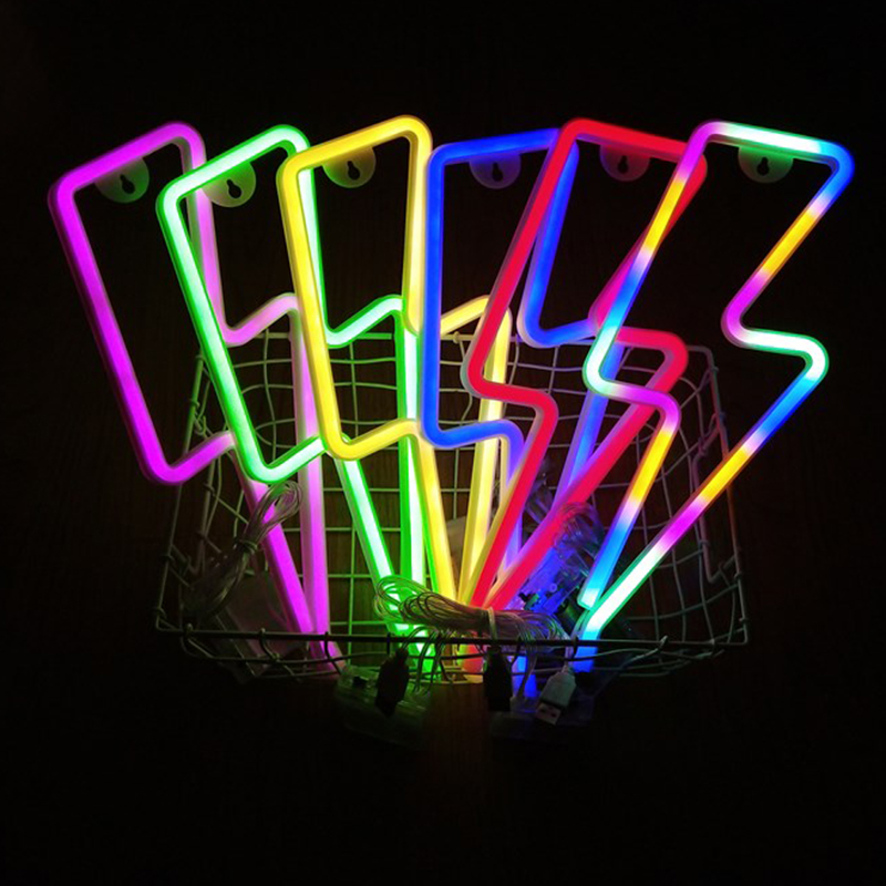 LED Home Neon Lightning Shaped Sign Neon Gradient Light USB Decorative Light Christmas Gift for Kids Baby Room Wedding Party
