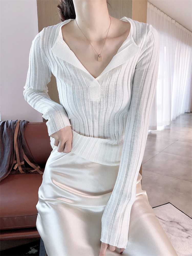 Women Sweaters Spring Cut Deep V Slim Silk Wool Cashmere Knit Top