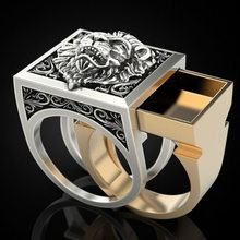 Fashion Lion Head Two-Tone Men Rings Punk Style Party Finger Ring Hyperbole Pattern Drawer Design Male Ring Jewelry Size 7-13(China)