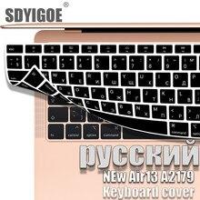 Capa do portátil para macbook air13 2020 casos de teclado novo air13.3 teclado capa 13 polegada a2179 silicone teclado adesivos russo