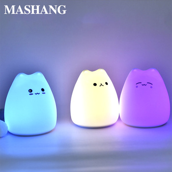 LED night light silicone baby decorative table lamp battery dream cat 7 colorful holiday creative sleeping ball bedroom lamp gx diffuser creative sleeping night lamp decoration table lamp warm light for bedroom