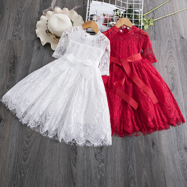 Long Sleeve Girls Dress 2020 Winter Lace Flower Dress for Girls Floral Ball Gown Baby Girl Clothes Kids Dresses for Girls Wear 3