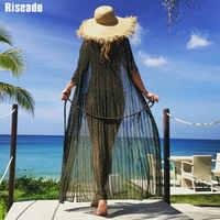 Riseado 2020 Pareo Strand Tunika Bikini Abdeckung Ups Lange Strand Kleid Bademode Half-hülse Badeanzug Sexy Badeanzüge Frauen