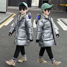 Winter Jacket Girls Thick Warm Snow Wear Cotton Long Outwear Children's Casual Hooded Print Korean Boys Coat Kids Autumn 4-16 Y