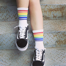 Cool Skateborad Short Rainbow Socks Art Women Fashion White Cotton Cocks Hipster Cartoon Colored Ankle Female
