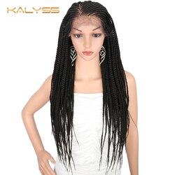 Kalyss 28 zoll 13x6 Braid Perücke Synthetische Spitze Front Perücke für Schwarze Frauen 613 Blonde Geflochtene Perücken für cosplay Perücken für Frauen