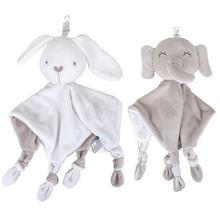 Karikatür yumuşak yatıştırıcı havlu bebek hayvan mendil halka kağıt güvenlik örtüsü bebek havlu oyuncak bebek fil tavşan çıngırak