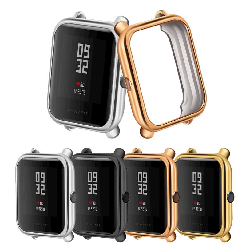Smart Watch Screen Cover Case Protector For Huami Amazfit Bip Plating Case TPU Smart Watch Plated Protective Accessories TSLM1