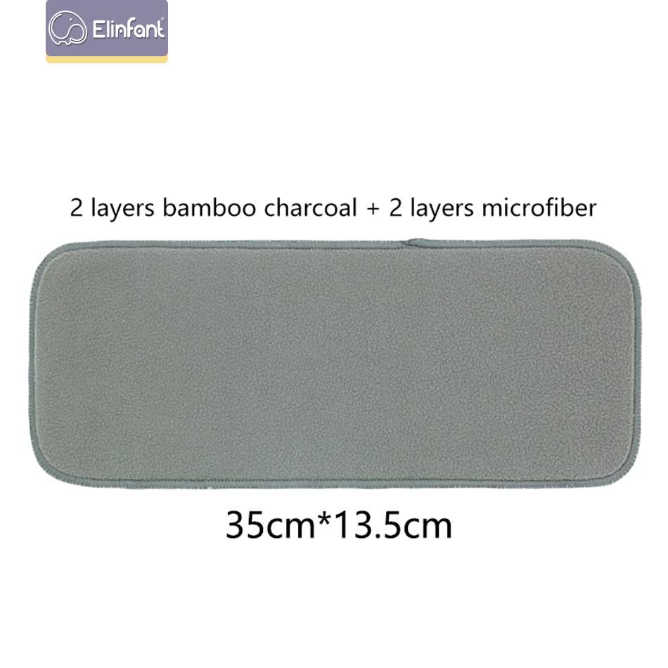 Elinfant 5/pcs  Baby Nappies Bamboo Charcoal reusable diaper Inserts 2+2 layers bamboo charcoal For Baby Cloth Diaper (SMT063-P10 M)